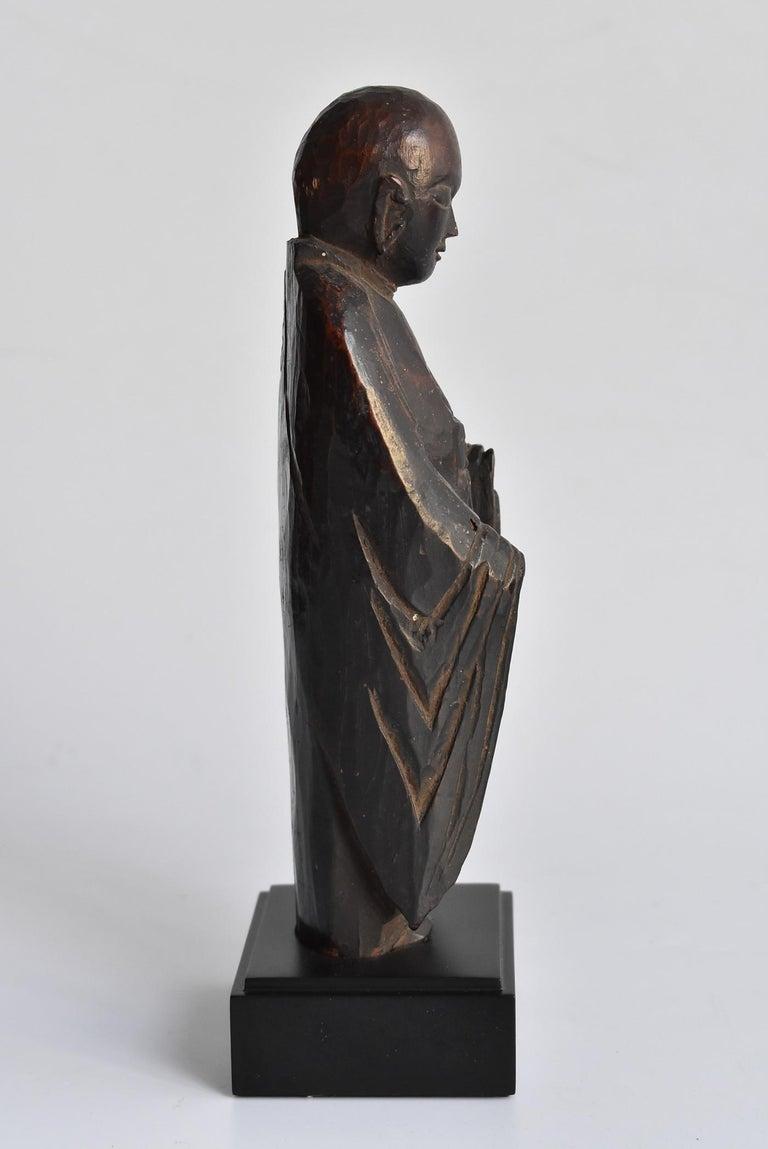 1600s-1800s Japanese Wood Carving Jizo Bodhisattva or Buddha Statue Edo Period In Good Condition For Sale In Sammushi, JP