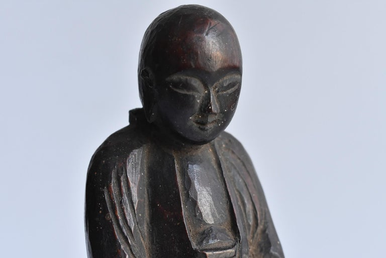 18th Century and Earlier 1600s-1800s Japanese Wood Carving Jizo Bodhisattva or Buddha Statue Edo Period For Sale