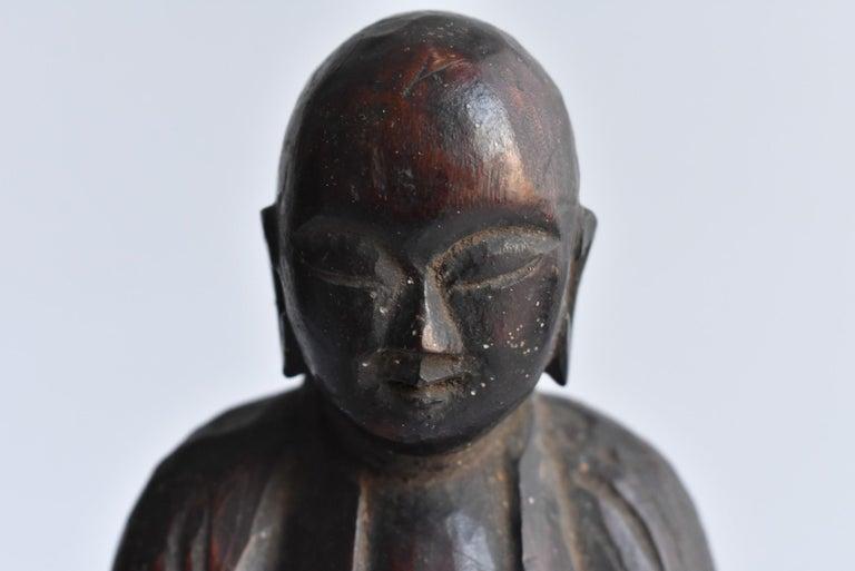 1600s-1800s Japanese Wood Carving Jizo Bodhisattva or Buddha Statue Edo Period For Sale 1