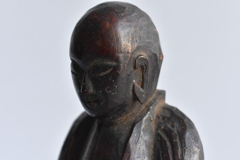 1600s-1800s Japanese Wood Carving Jizo Bodhisattva or Buddha Statue Edo Period For Sale 2