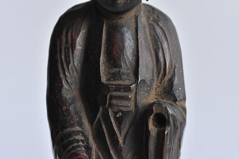 1600s-1800s Japanese Wood Carving Jizo Bodhisattva or Buddha Statue Edo Period For Sale 3