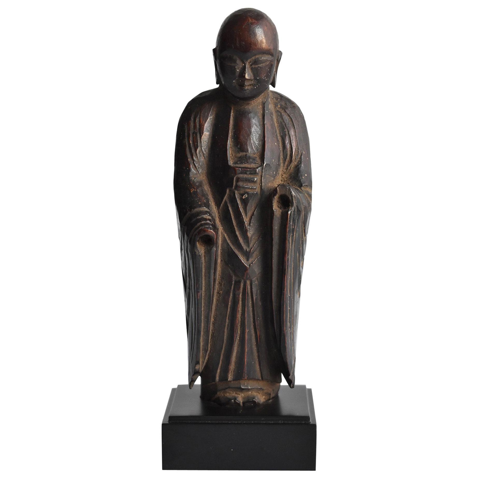 1600s-1800s Japanese Wood Carving Jizo Bodhisattva or Buddha Statue Edo Period
