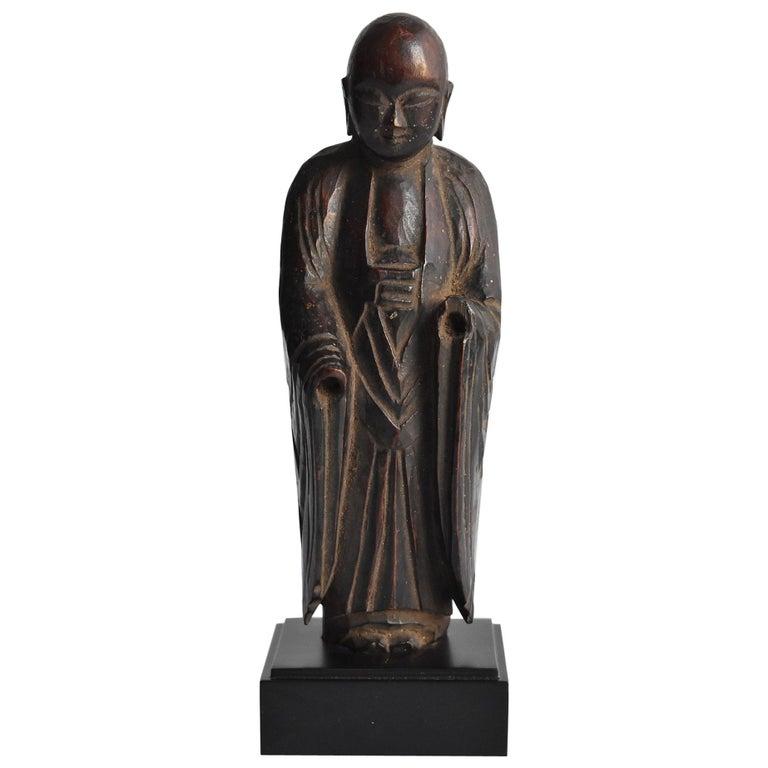 1600s-1800s Japanese Wood Carving Jizo Bodhisattva or Buddha Statue Edo Period For Sale