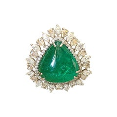 16.01 Carat, Natural Zambian Emerald & Diamond Convertible Cocktail Ring/Pendant