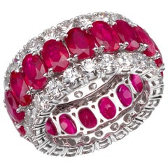 16.02 Carat Oval Ruby Diamond 18 Karat White Gold Eternity Band Ring