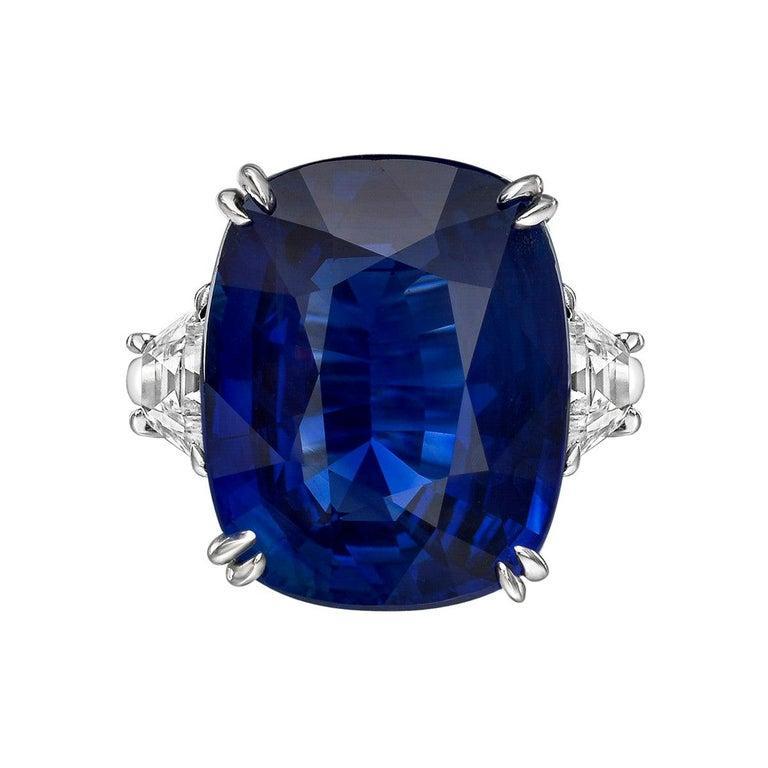16.04 Carat No-Heat Ceylon Sapphire Ring In Excellent Condition In Greenwich, CT