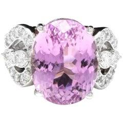 16.05 Carat Natural Kunzite and Diamond 14 Karat Solid White Gold Ring
