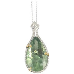 16.06 Carat Pear Shaped Exotic Kiwi Green Amethyst Pendant
