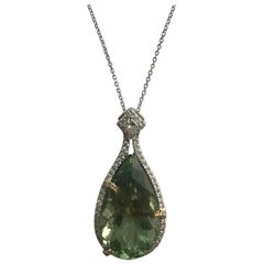 DiamondTown 16.06 Carat Pear Shaped Exotic Kiwi Green Amethyst Pendant