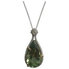 DiamondTown 16.06 Carat Pear Shaped Exotic Kiwi Green Amethyst Pendant