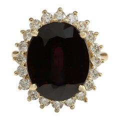 16.07 Carat Hessonite Garnet 18 Karat Yellow Gold Diamond Ring