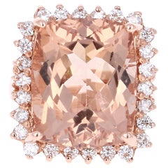 16.07 Carat Morganite Diamond 14 Karat Rose Gold Cocktail Ring