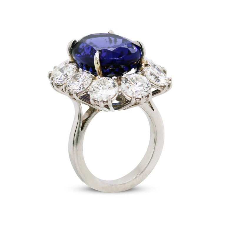 Oval Cut 16.07 Carat Oval Tanzanite Platinum Large Diamonds Cocktail Ring For Sale