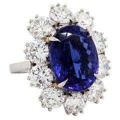 16.07 Carat Oval Tanzanite Platinum Large Diamonds Cocktail Ring