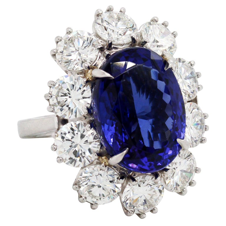 16.07 Carat Oval Tanzanite Platinum Large Diamonds Cocktail Ring For Sale