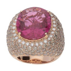 16.07 Carat Rubellite White and Brown Diamonds Pink Gold Dome Cocktail Ring