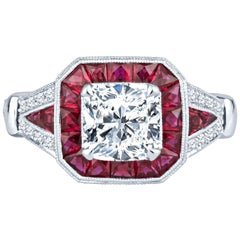 1.60ct Cushion Diamond, GIA Certified, with 1.23ct Ruby Accent Vintage Inspired