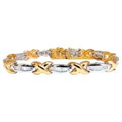 1.60ct Natural Baguette Diamonds x Bracelet 14 Karat Two-Tone & Safe Chain