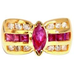1.60 Carat Natural Ruby Retro Cathedral Ring 14 Karat