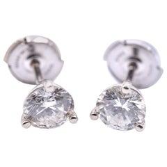1.60cttw Round Brilliant 14 Karat White Gold Diamond Martini Stud Earrings