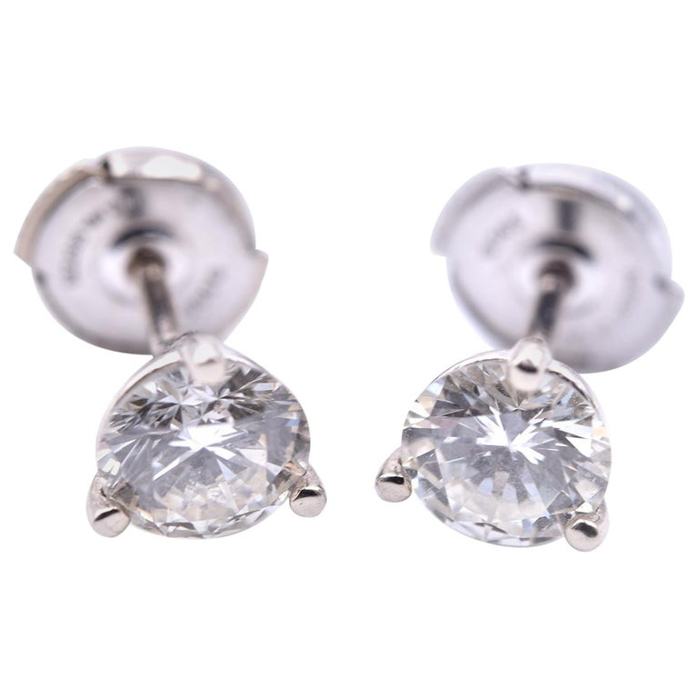 6d0966d94 1.60cttw Round Brilliant 14 Karat White Gold Diamond Martini Stud Earrings  For Sale