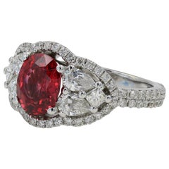 1.61 Carat Cushion Cut Natural Burmese Spinel and Diamond Ring Set in 18 Karat