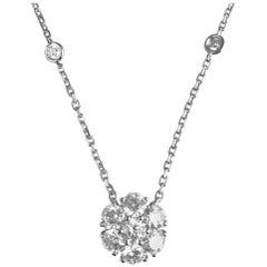 1.61 Carat Diamond Flower Cluster Pendant in 14 Karat White Gold