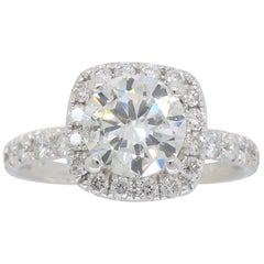 1.61 Carat Diamond Halo Engagement Ring