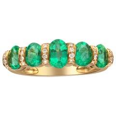 1.61 Carat Emerald and Diamond 14 Karat Yellow Gold Band Ring