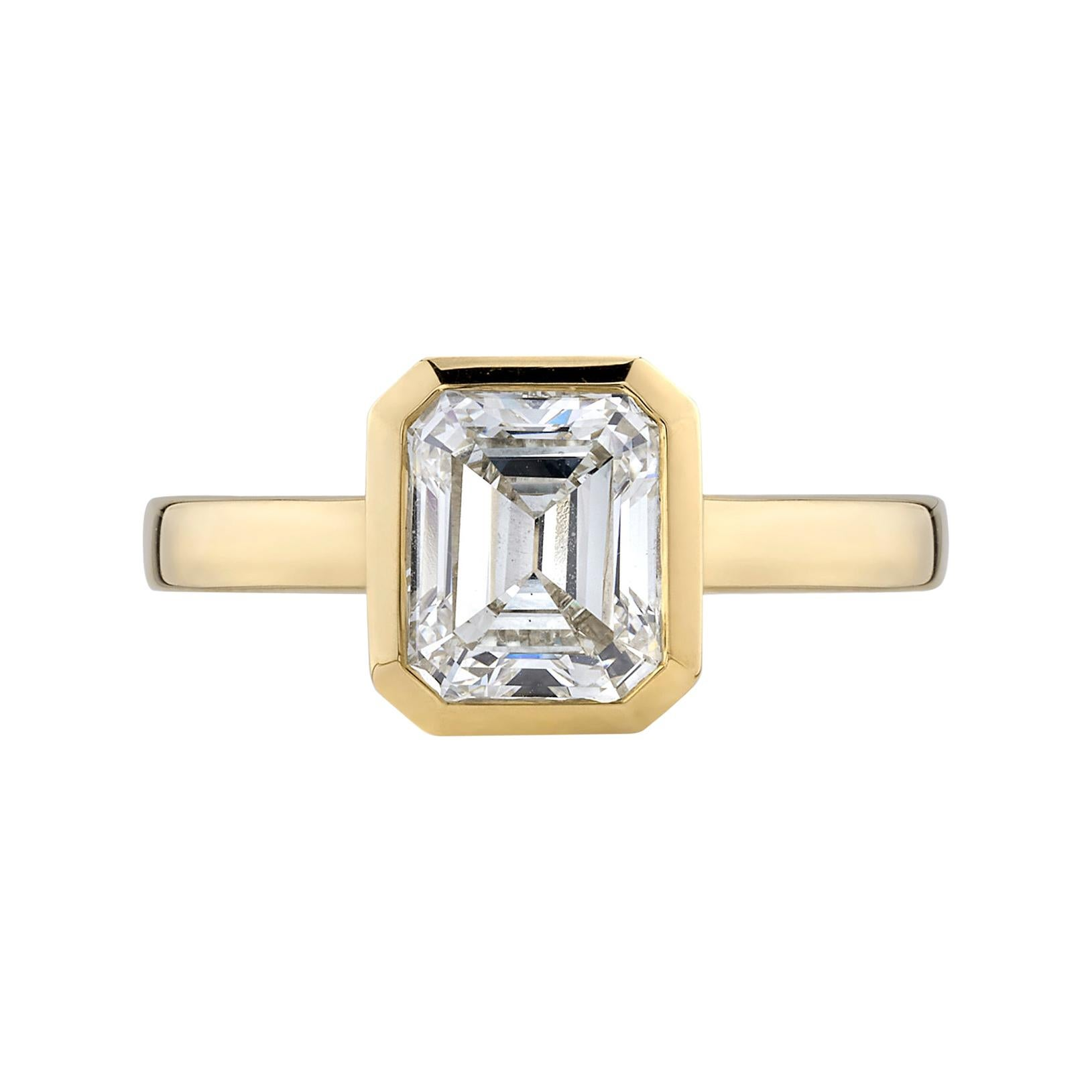 1.61 Carat Emerald Cut Diamond Set in a Handcrafted Yellow Gold Engagement Ring