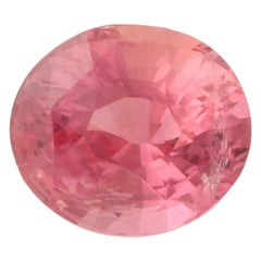 1.61 Carat Loose Sapphire, Oval Orange Pink AGL Graded Solitaire