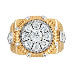 "1.63 Carat Men's Diamond Gold ""Rolex"" Style Ring"