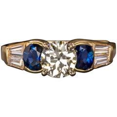 1.61 Carat Old European Vintage Diamond Sapphire Gold Ring