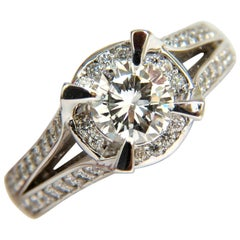 1.61 Carat Round Brilliant Diamond Raised Crown Ring