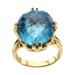 16.1 Carats Aquamarine 18K Gold Ring