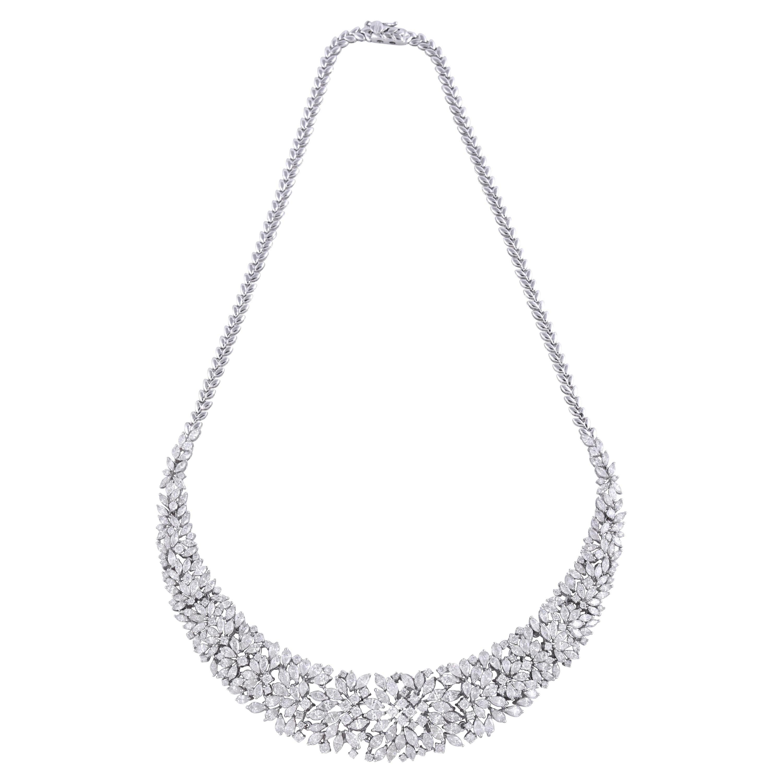 16.10 Carat Diamond 18 Karat White Gold Statement Necklace