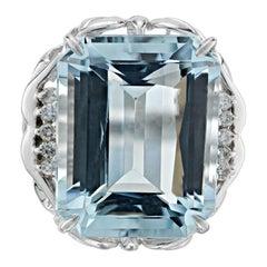 16.11 Carat Aquamarine Diamond Platinum Cocktail Ring