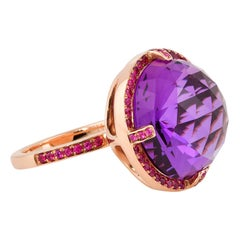 16.14 Carat Amethyst Ring in 14 Karat Rose Gold with Rubies