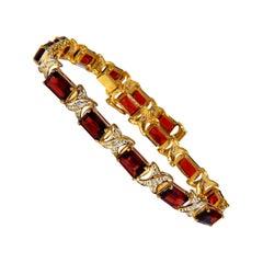 16.15 Carat Natural Garnets Diamond X Tennis Bracelet 14 Karat
