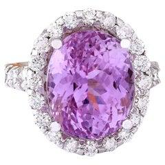 16.16 Carat Natural Kunzite 18 Karat Solid White Gold Diamond Ring