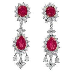 16.16 Carat Pear Shape Ruby and Diamond Chandelier Drop Earrings