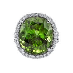16.16ct Burmese Peridot Ring Adorned with 1.15ct Diamonds and Set in 18 KW