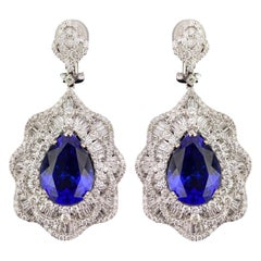 16.17 Carat Tanzanite and Diamond Dangling Earring