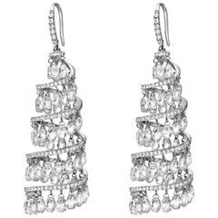PANIM Diamond Spiral Chandelier Earrings in 18 Karat White Gold 16.17 Carats