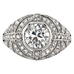 1.61ct K/VS1 GIA Certified Vintage Old European Cut Diamond Ring Set in Platinum