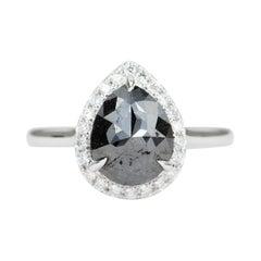 1.61ct Pear Shape Black Diamond Halo Engagement Ring 14k White Gold AD1707-12