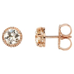1.61 Carat GIA Certified Old European Cut Diamonds Set in 18 Karat Rose Gold