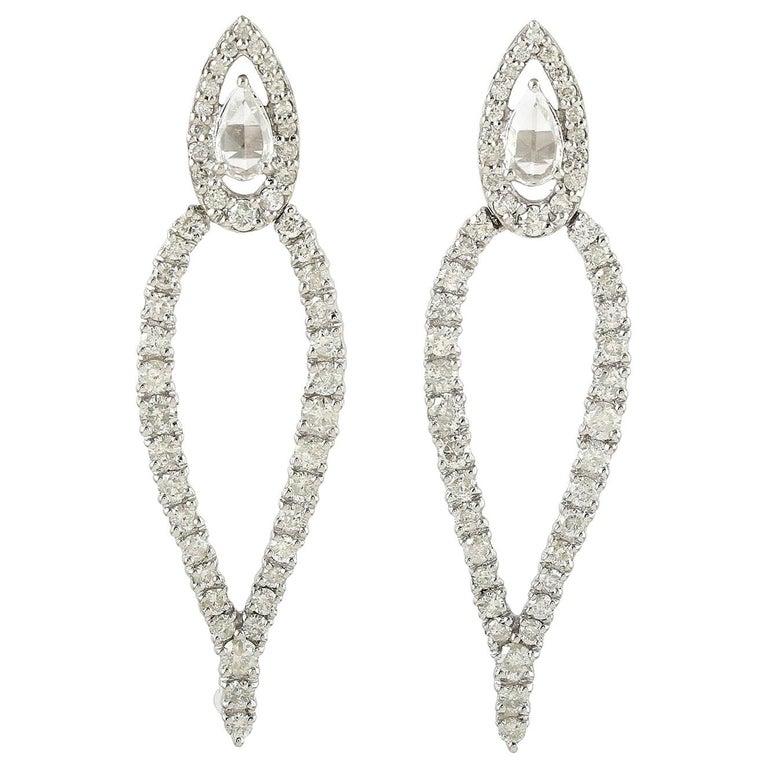 1.62 Carat Diamond 18 Karat Gold Earrings For Sale
