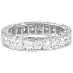 1.62 Carat Diamond Eternity Band 18 Karat White Gold with Filigree Work