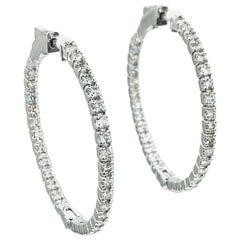 Diamond Hoop Earrings 1.62 Carats in 14 Karat white Gold